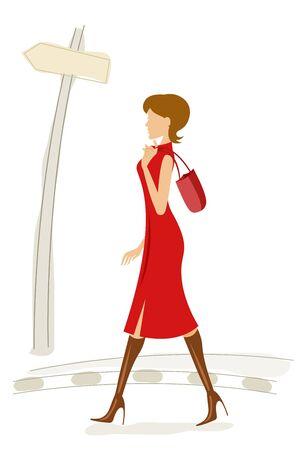 handbag model: illustration of fashionable lady walking in street..