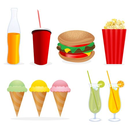 softdrink: illustration of junk foods on isolated background Illustration
