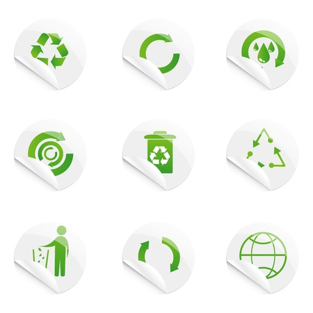 illustration of recyle stickers on isolated background Vector