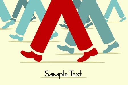 Illustration der geschäftigen Straße mit walking Beine Vektorgrafik