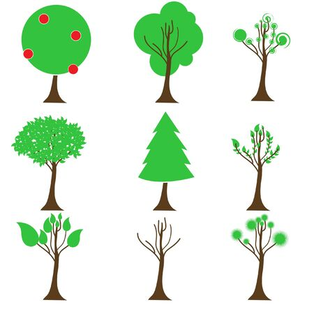 illustration of set of different tree icon Stock Vector - 8246857