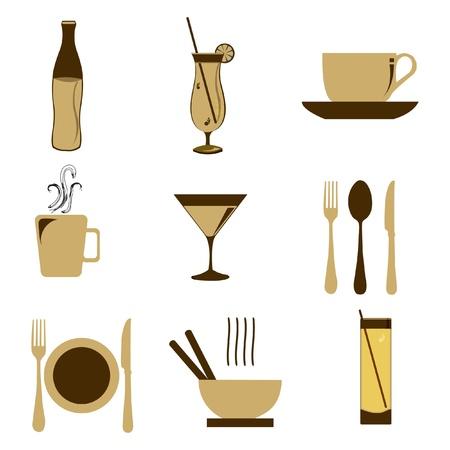 fork glasses: illustrazione del cibo icona sullo sfondo isolato