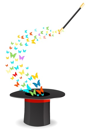 magic trick: illustration of butterflies coming out of magic hat on isolated background