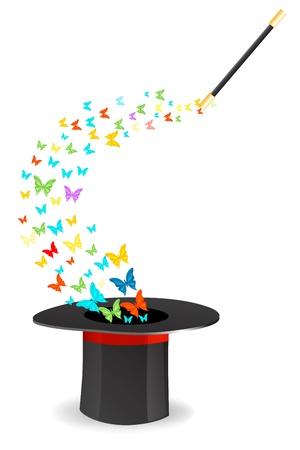 black hat: Ilustraci�n de mariposas saliendo de sombrero m�gico sobre fondo aislado