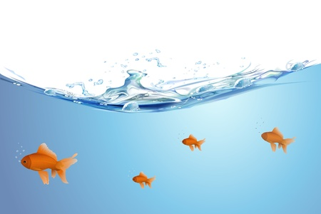goldfish jump: illustration of gold fishing swimming in water