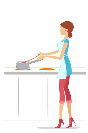 illustration of cooking by a girl with white background Stock Vector - 8247068
