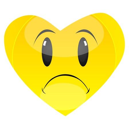sad face: illustration of sadness with white background