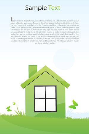 illustration de la maison verte avec fond clair