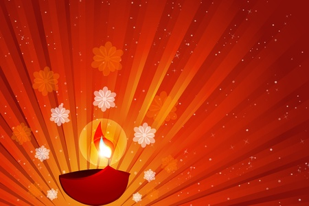 flower lamp: illustration of diwali with diya