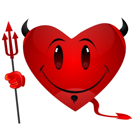 illustration of smiley devil heart Vector