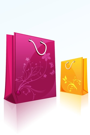 gift bag: illustration of floral shopping bags on isolated background Illustration