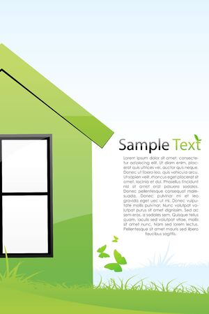 animal shelter: illustration of green house with sample text Illustration