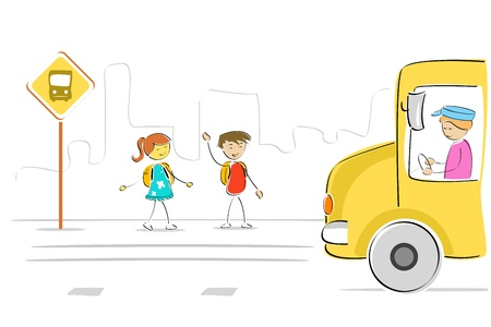 to go: illustration of kids at bus stop waiting for school bus Illustration