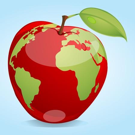 Taste: illustration of map on apple