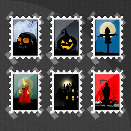 illustration of different halloween stamps Stock Vector - 8248213