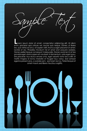 drink tools: illustration of different tableware with sample text Illustration
