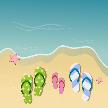 illustration of slipper of famile on sea side Stock Vector - 8247619
