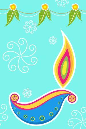 diya: Ilustraci�n de la tarjeta de diwali coloridos Vectores