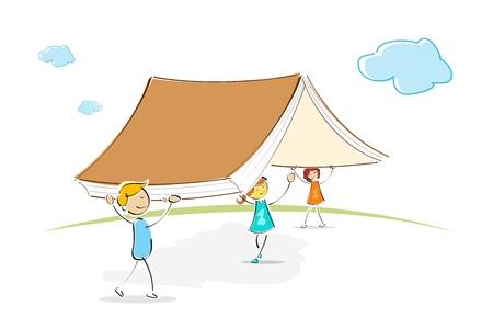 study concept: illustration of kids under book