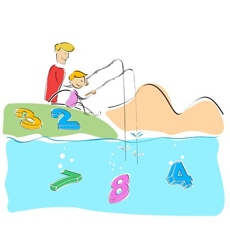 illustration of father and son fishing numbers Vector