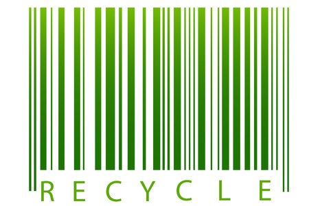 conciencia ambiental: Ilustraci�n de la Papelera de reciclaje, c�digo de barras con fondo blanco Vectores