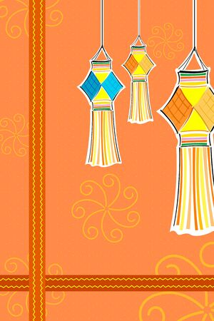illustration of diwali card with candle