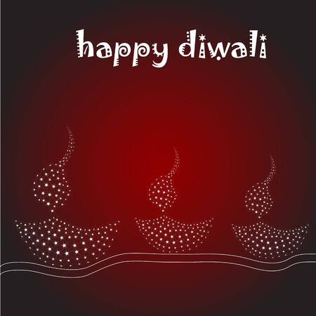 dipawali: illustration of diwali card with lamp Illustration