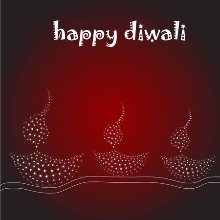 diya: Ilustraci�n de diwali tarjeta con l�mpara