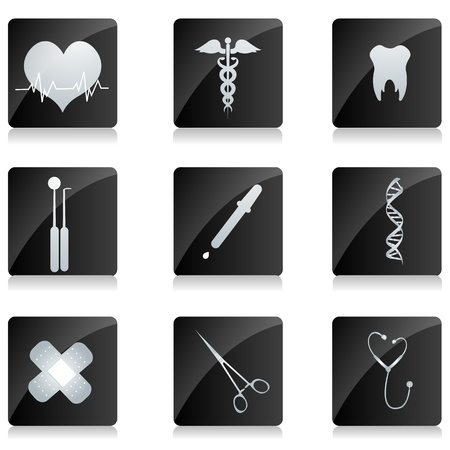 heart disease: illustration of medical icons on square button