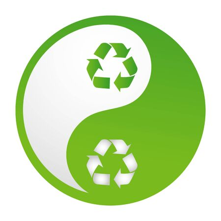 illustration of recycle yinyang on white background Vector