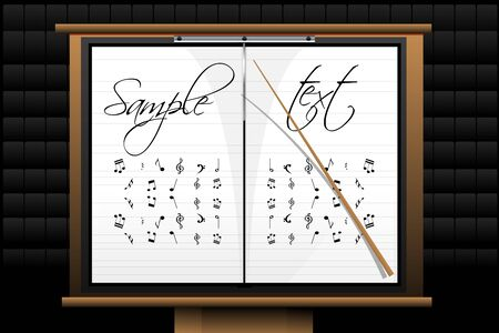 conduct: illustration of music board with sample text Illustration
