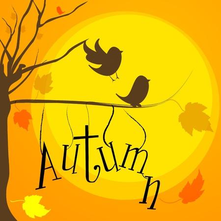 illustration of autumn with birds,tree and sun Vector