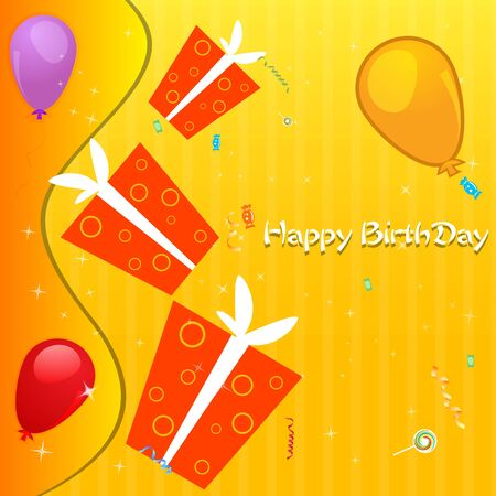 illustration of birthday card with balloon and gifts Stock Vector - 8247352