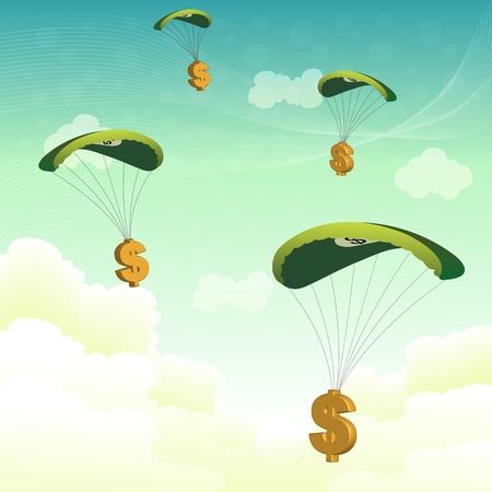 falling money: illustration of dollar dollar parachutes