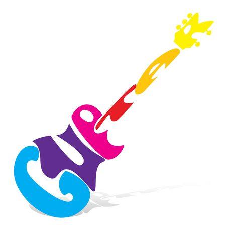 Abbildung der Gitarre auf weißem Hintergrund Vektorgrafik