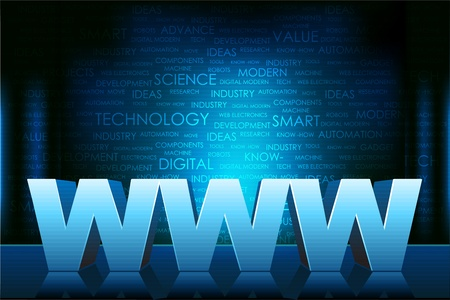 wehosting: illustration of www text on technology typography background
