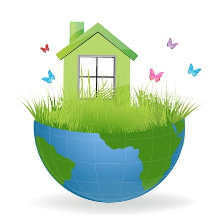 half globe: illustration of green house on half earth with colorful butterflies Illustration