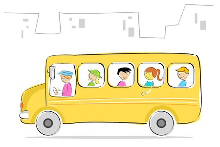 leaving: illustratie van kinderen gaan naar school in de school bus