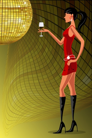 illustration of lady enjoying wine in a party Vector