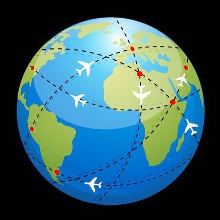 flightpath: illustration of globe showing air route