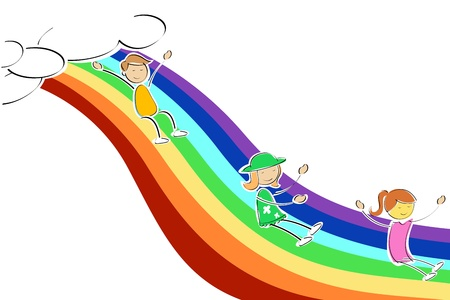 illustration of kids sliding on rainbow Illustration