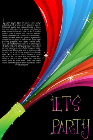 illustration of colorful swirl coming out of champagne bottle Vector
