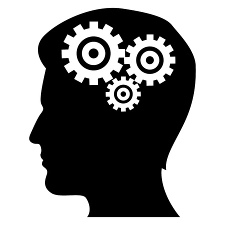 wit: illustration of mechanics of human mind on isolated background