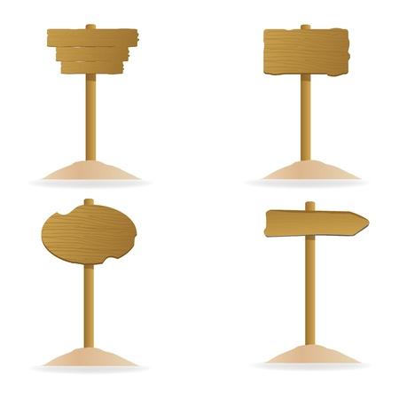 wooden post: Ilustraci�n del conjunto de la plancha de madera diferente sobre fondo aislado