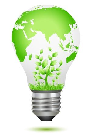 green energy: illustration of growing plant inside global bulb Illustration