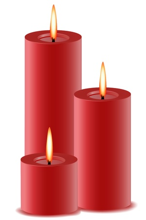 lit candles: illustration of set of burning candles on isolated background