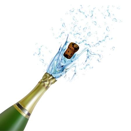 opening party: Ilustraci�n de explosi�n de corcho de botella de champagne sobre fondo aislado