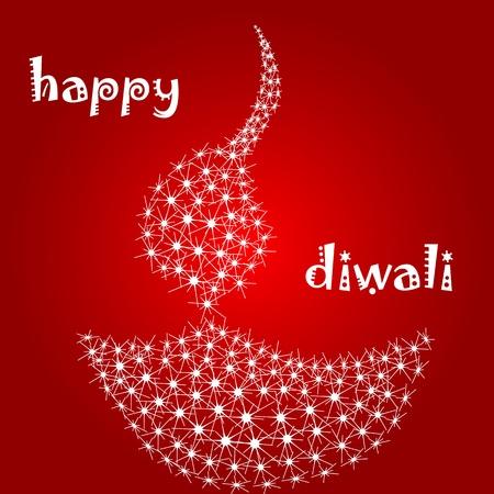 diya: illustration of diwali card with diya Illustration