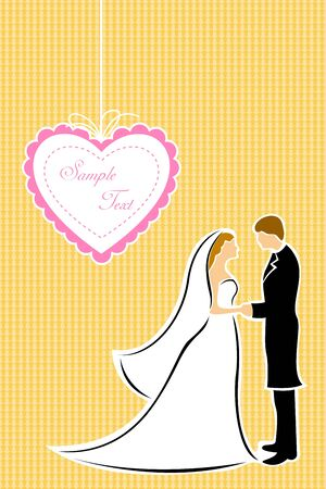 illustration of happy couple in wedding dress on texture background Vector