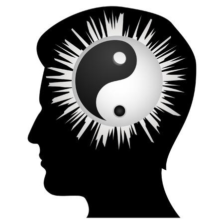 cerebro blanco y negro: Ilustraci�n de yin yang dentro de cerebro humano